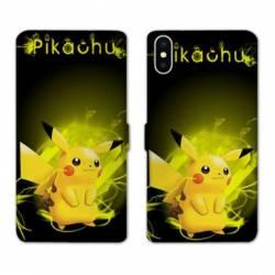 RV Housse cuir portefeuille Iphone XR Pokemon Pikachu eclair