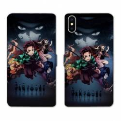 RV Housse cuir portefeuille Iphone XS Max Manga Damon Slayer Noir