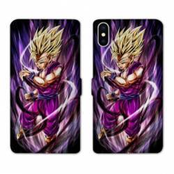 RV Housse cuir portefeuille Iphone XS Max Manga Dragon Ball Sangohan violet