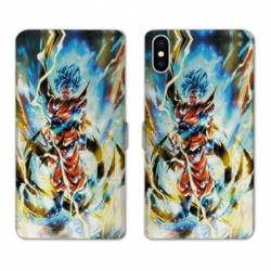 RV Housse cuir portefeuille Iphone XS Max Manga Dragon Ball Sangoku Blanc