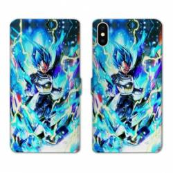 RV Housse cuir portefeuille Iphone XS Max Manga Dragon Ball Vegeta Bleu