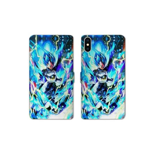 RV Housse cuir portefeuille Iphone XS Max Manga Dragon Ball Vegeta Bleu