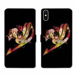 RV Housse cuir portefeuille Iphone XS Max Manga Fairy Tail Logo Noir