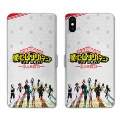RV Housse cuir portefeuille Iphone XS Max Manga My hero acadamia blanc