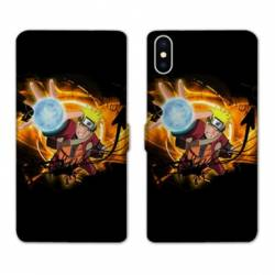 RV Housse cuir portefeuille Iphone XS Max Manga Naruto noir