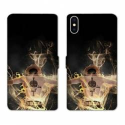 RV Housse cuir portefeuille Iphone XS Max Manga One Piece Ace noir
