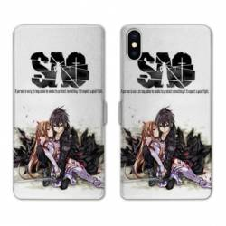 RV Housse cuir portefeuille Iphone XS Max Manga SAO sword Art Online blanc