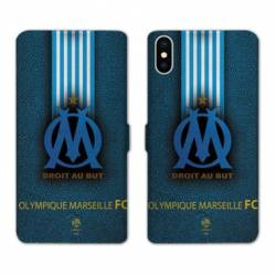 RV Housse cuir portefeuille Iphone XS Max Olympique Marseille OM Bande