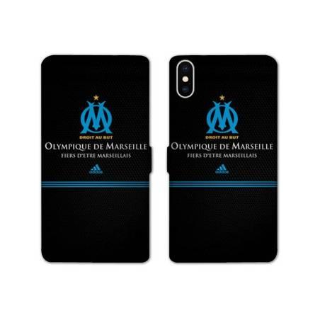 RV Housse cuir portefeuille Iphone XS Max Olympique Marseille OM Fier etre Marseillais