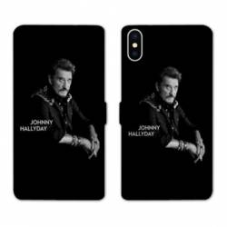 RV Housse cuir portefeuille Iphone XS Max Johnny Hallyday Noir