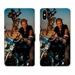 RV Housse cuir portefeuille Iphone XS Max Johnny Hallyday Moto
