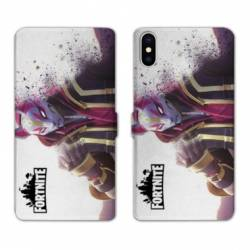 RV Housse cuir portefeuille Iphone XS Max Fortnite Blanc