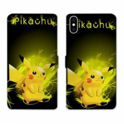 RV Housse cuir portefeuille Iphone XS Max Pokemon Pikachu eclair