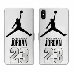 RV Housse cuir portefeuille Iphone XS Max Jordan 23 Blanc