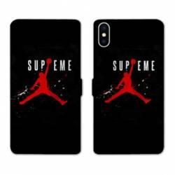 RV Housse cuir portefeuille Iphone XS Max Jordan Supreme Noir