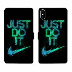 RV Housse cuir portefeuille Iphone XS Max Nike Just do it