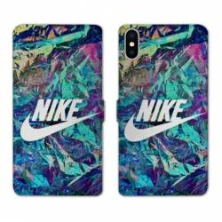 RV Housse cuir portefeuille Iphone XS Max Nike Turquoise