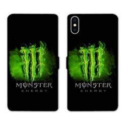 RV Housse cuir portefeuille Samsung Galaxy A10 Monster Energy Vert