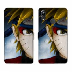 RV Housse cuir portefeuille Samsung Galaxy A40 Manga Naruto blanc