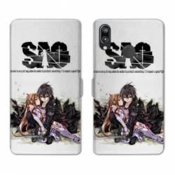 RV Housse cuir portefeuille Samsung Galaxy A40 Manga SAO sword Art Online blanc