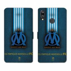 RV Housse cuir portefeuille Samsung Galaxy A40 Olympique Marseille OM Bande