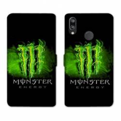 RV Housse cuir portefeuille Samsung Galaxy A40 Monster Energy Vert