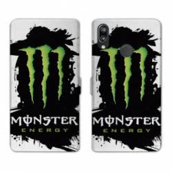 RV Housse cuir portefeuille Samsung Galaxy A40 Monster Energy tache