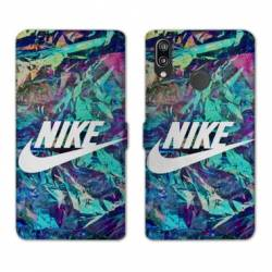 RV Housse cuir portefeuille Samsung Galaxy A40 Nike Turquoise