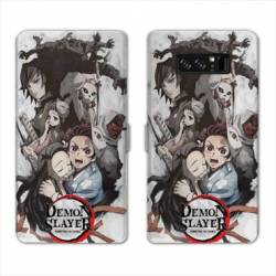 RV Housse cuir portefeuille Samsung Galaxy S10 Manga Damon Slayer Blanc