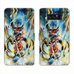 RV Housse cuir portefeuille Samsung Galaxy S10 Manga Dragon Ball Sangoku Blanc
