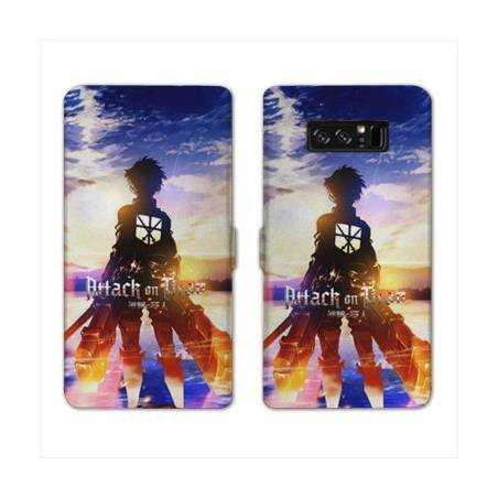 RV Housse cuir portefeuille Samsung Galaxy S10e Manga Attaque titans Soleil