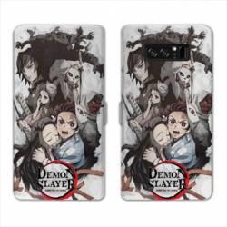 RV Housse cuir portefeuille Samsung Galaxy S10e Manga Damon Slayer Blanc