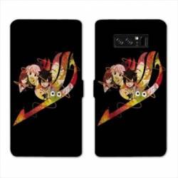 RV Housse cuir portefeuille Samsung Galaxy S10e Manga Fairy Tail Logo Noir