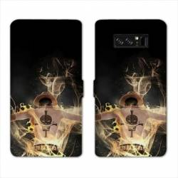 RV Housse cuir portefeuille Samsung Galaxy S10e Manga One Piece Ace noir
