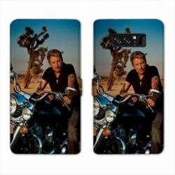 RV Housse cuir portefeuille Samsung Galaxy S10e Johnny Hallyday Moto