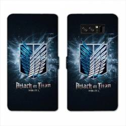 RV Housse cuir portefeuille Samsung Galaxy S10 PLUS Manga Attaque titans noir