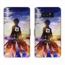 RV Housse cuir portefeuille Samsung Galaxy S10 PLUS Manga Attaque titans Soleil