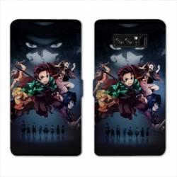 RV Housse cuir portefeuille Samsung Galaxy S10 PLUS Manga Damon Slayer Noir