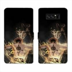 RV Housse cuir portefeuille Samsung Galaxy S10 PLUS Manga One Piece Ace noir