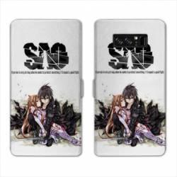 RV Housse cuir portefeuille Samsung Galaxy S10 PLUS Manga SAO sword Art Online blanc