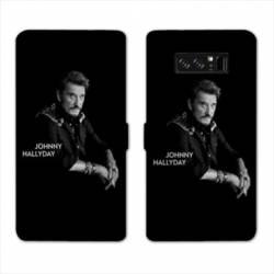 RV Housse cuir portefeuille Samsung Galaxy S10 PLUS Johnny Hallyday Noir