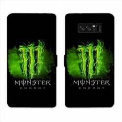 RV Housse cuir portefeuille Samsung Galaxy S10 PLUS Monster Energy Vert