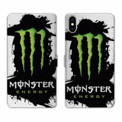 RV Housse cuir portefeuille Wiko Y60 Monster Energy tache