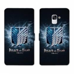 RV Housse cuir portefeuille Samsung Galaxy S9 Manga Attaque titans noir