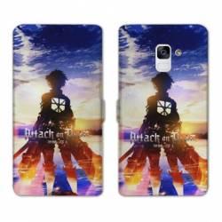 RV Housse cuir portefeuille Samsung Galaxy S9 Manga Attaque titans Soleil