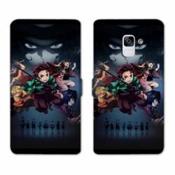 RV Housse cuir portefeuille Samsung Galaxy S9 Manga Damon Slayer Noir