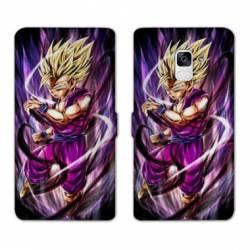 RV Housse cuir portefeuille Samsung Galaxy S9 Manga Dragon Ball Sangohan violet