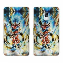 RV Housse cuir portefeuille Samsung Galaxy S9 Manga Dragon Ball Sangoku Blanc