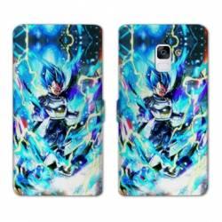 RV Housse cuir portefeuille Samsung Galaxy S9 Manga Dragon Ball Vegeta Bleu