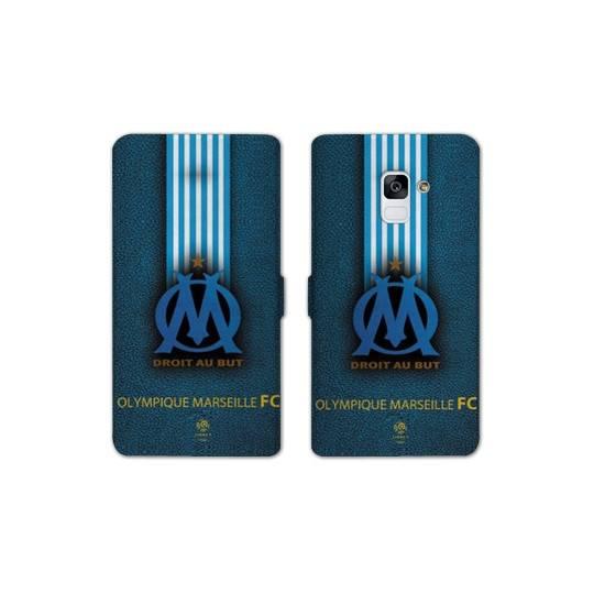 RV Housse cuir portefeuille Samsung Galaxy S9 Olympique Marseille OM Bande